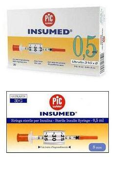 PIC SOLUTION INSUMED siringa per insulina 0,3 ml. 30GX8 30 pezzi